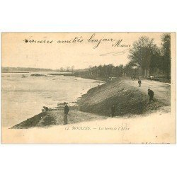 carte postale ancienne 03 MOULINS. Les Bords de l'Allier 1903. Le T du facteur au verso