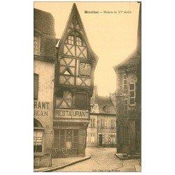 carte postale ancienne 03 MOULINS. Maison du XV siècle et Restaurant