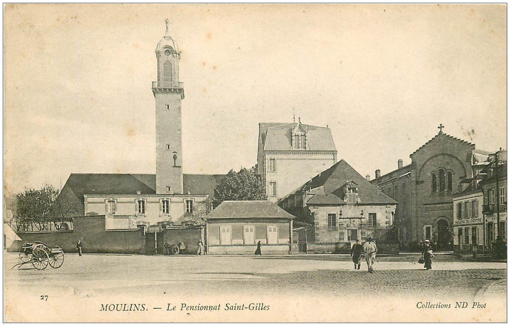 carte postale ancienne 03 MOULINS. Pensionnat Saint-Gilles 1905. Huilerie du Centre