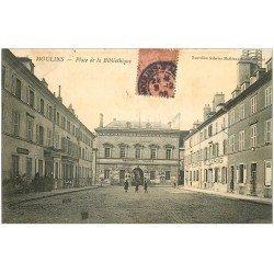 carte postale ancienne 03 MOULINS. Place de la Bibliothèque 1906. La Poste et Télégraphes