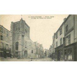 carte postale ancienne 77 COULOMMIERS. Eglise Rue du Palais de Justice