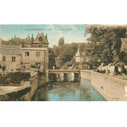carte postale ancienne 77 COULOMMIERS. Pont de la Ville rue de la Pêcherie 1936 Librairie
