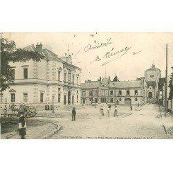 carte postale ancienne 77 COULOMMIERS. Poste et télégraphe, Hôtel de Ville et Eglise