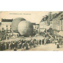carte postale ancienne 77 COULOMMIERS. Fête Aérostatique 1909. Ballons Gonflables Aéronefs Aérostats