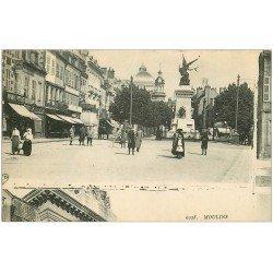 carte postale ancienne 03 MOULINS. Statue et Parfumerie (mauvaise découpe)...