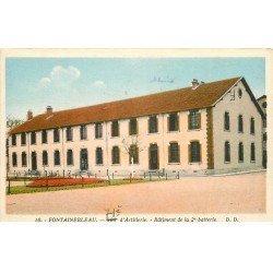 carte postale ancienne 77 FONTAINEBLEAU. Bâtiment 2° Batterie du 71° Artillerie 1935