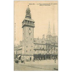 carte postale ancienne 03 MOULINS. Tour Jacquemart Beffroi municipal 1910
