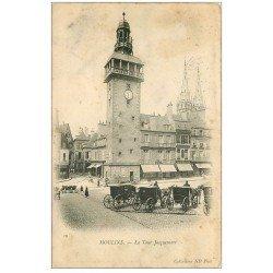 carte postale ancienne 03 MOULINS. Tour Jacquemart et Fiacres 1904