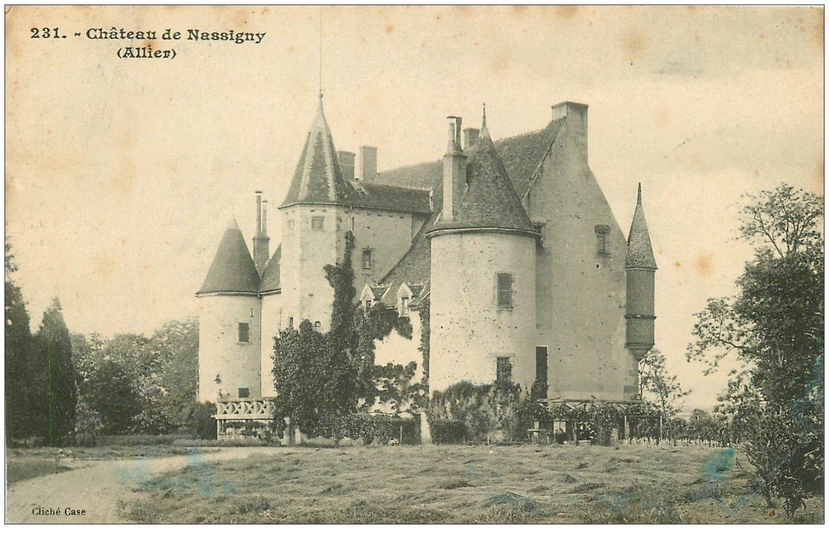 carte postale ancienne 03 NASSIGNY. Le Château 1913