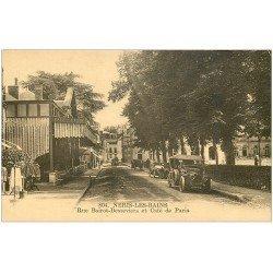 carte postale ancienne 03 NERIS-LES-BAINS. Café de Paris Rue Boirot-Desseviers voitures anciennes