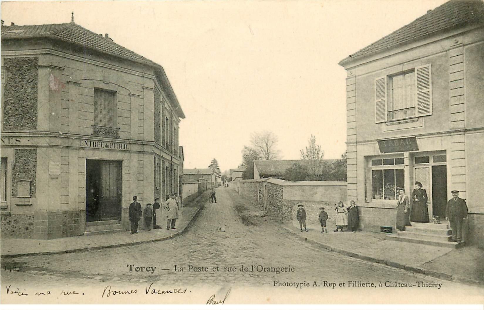 77 torcy la poste rue de l 39 orangerie et tabac 1904 avec facteur - Bureau de poste de torcy ...
