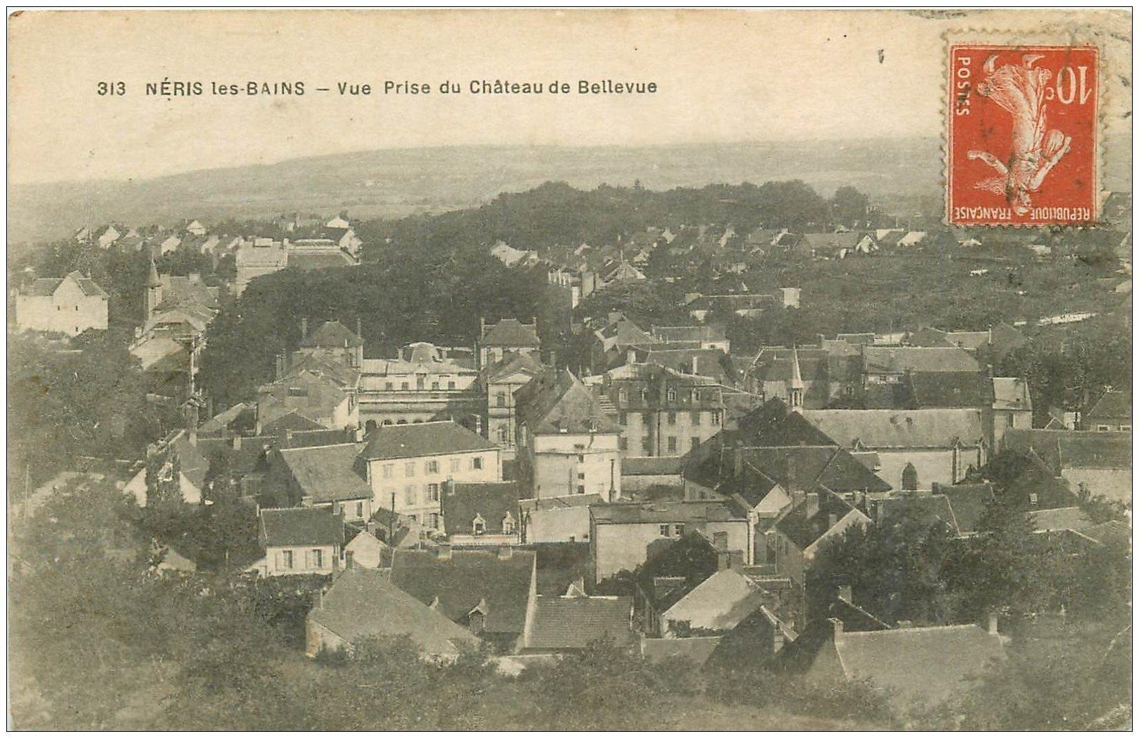 carte postale ancienne 03 NERIS-LES-BAINS. Du Château de Bellevue
