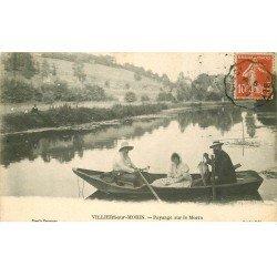 carte postale ancienne 77 VILLIERS-SUR-MORIN. Canotage sur le Morin 1912