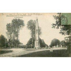 carte postale ancienne 77 VILLENEUVE-LE-COMTE. Obélisque 1919 acec Cycliste