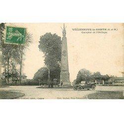 carte postale ancienne 77 VILLENEUVE-LE-COMTE. Obélisque 1923 voiture ancienne