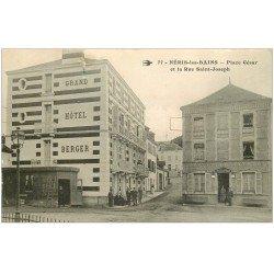 carte postale ancienne 03 NERIS-LES-BAINS. Hôtel Berger Place César et Rue Saint-Joseph 1917