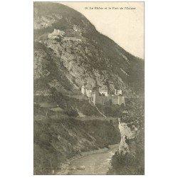 carte postale ancienne 01 Le Rhône et le Fort de l'Ecluse