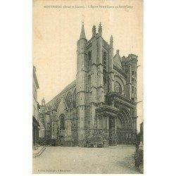 carte postale ancienne 77 MONTEREAU. Eglise Notre-Dame et Saint-Loup 1929 camion ancien