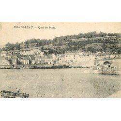 carte postale ancienne 77 MONTEREAU. Quai de Seine 1908 embarcation