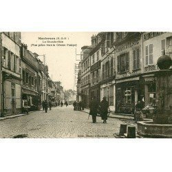 carte postale ancienne 77 MONTEREAU. La Grande Rue Charcuterie
