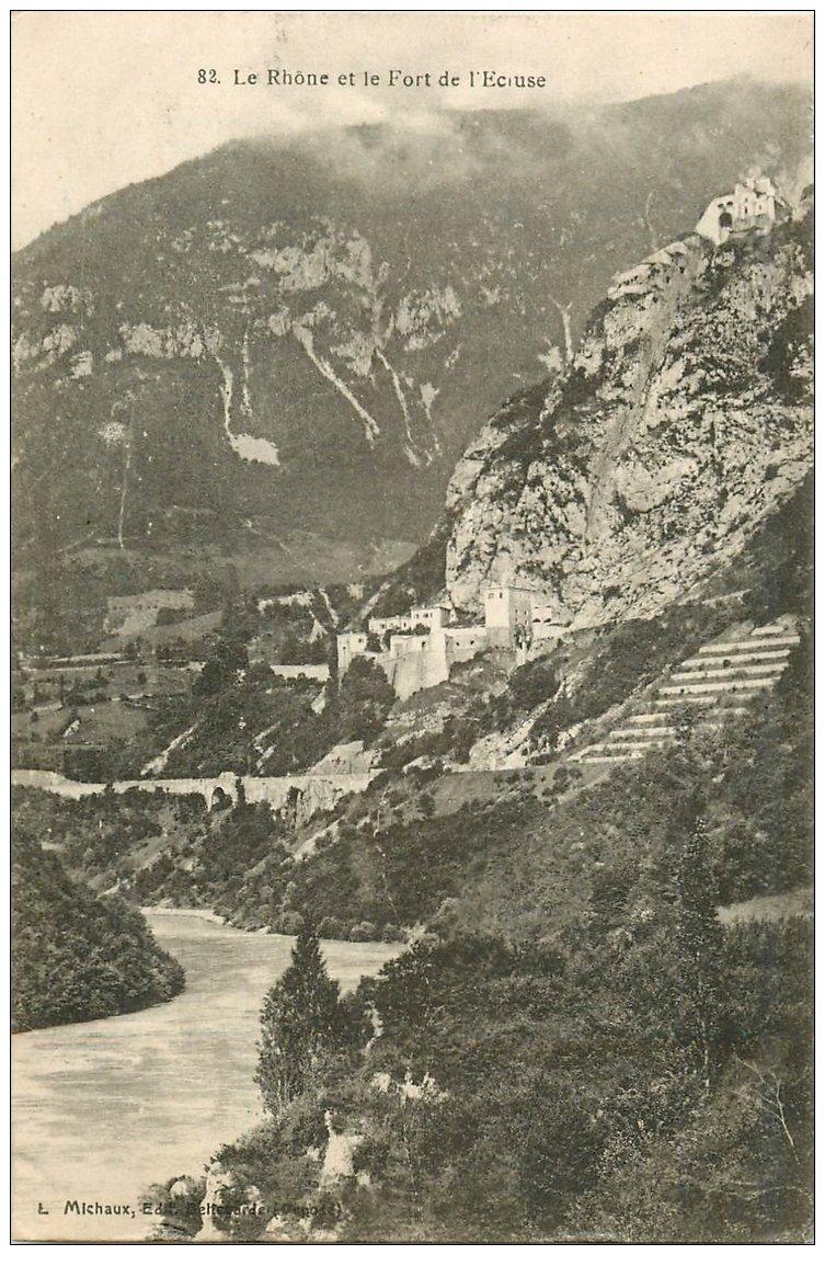 carte postale ancienne 01 Le Rhône et le Fort de l'Ecluse 2