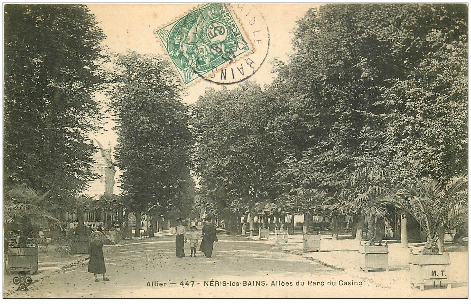 carte postale ancienne 03 NERIS-LES-BAINS. Parc Allées 1907