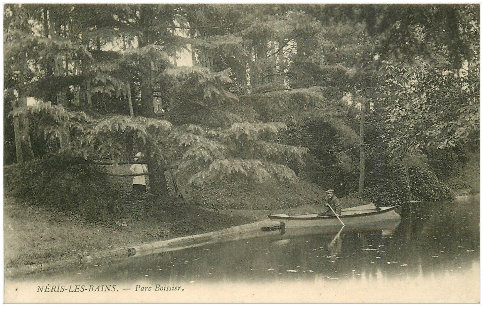 carte postale ancienne 03 NERIS-LES-BAINS. Parc Boissier 1911 un tour en barque