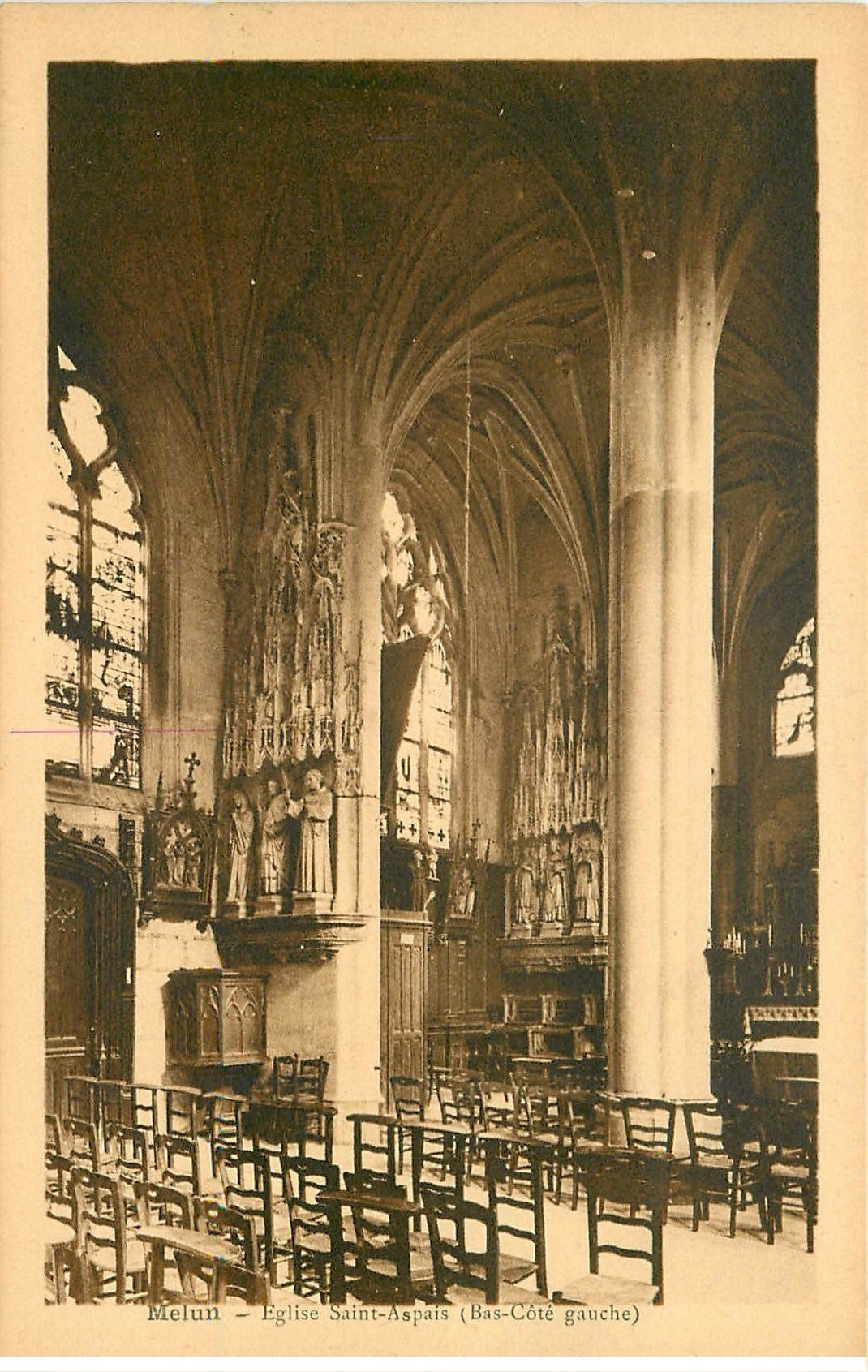carte postale ancienne 77 MELUN. Eglise Saint-Aspais