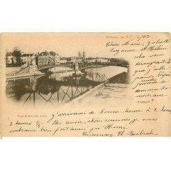 carte postale ancienne 77 MELUN. Pont de Fer 1902