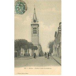 carte postale ancienne 77 MELUN. Clocher Saint-Barthélémy 1904