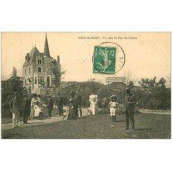 carte postale ancienne 03 NERIS-LES-BAINS. Parc du Casino 1911. Convalescente en Tricycle Pousette