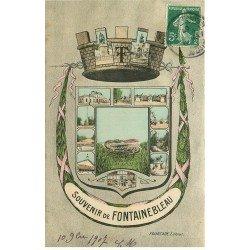 carte postale ancienne 77 FONTAINEBLEAU. Emblême de la Ville 1907