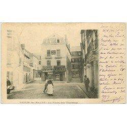carte postale ancienne 03 NERIS-LES-BAINS. Place des Thermes 1904 Librairie et Pharmacie. Villa du Midi