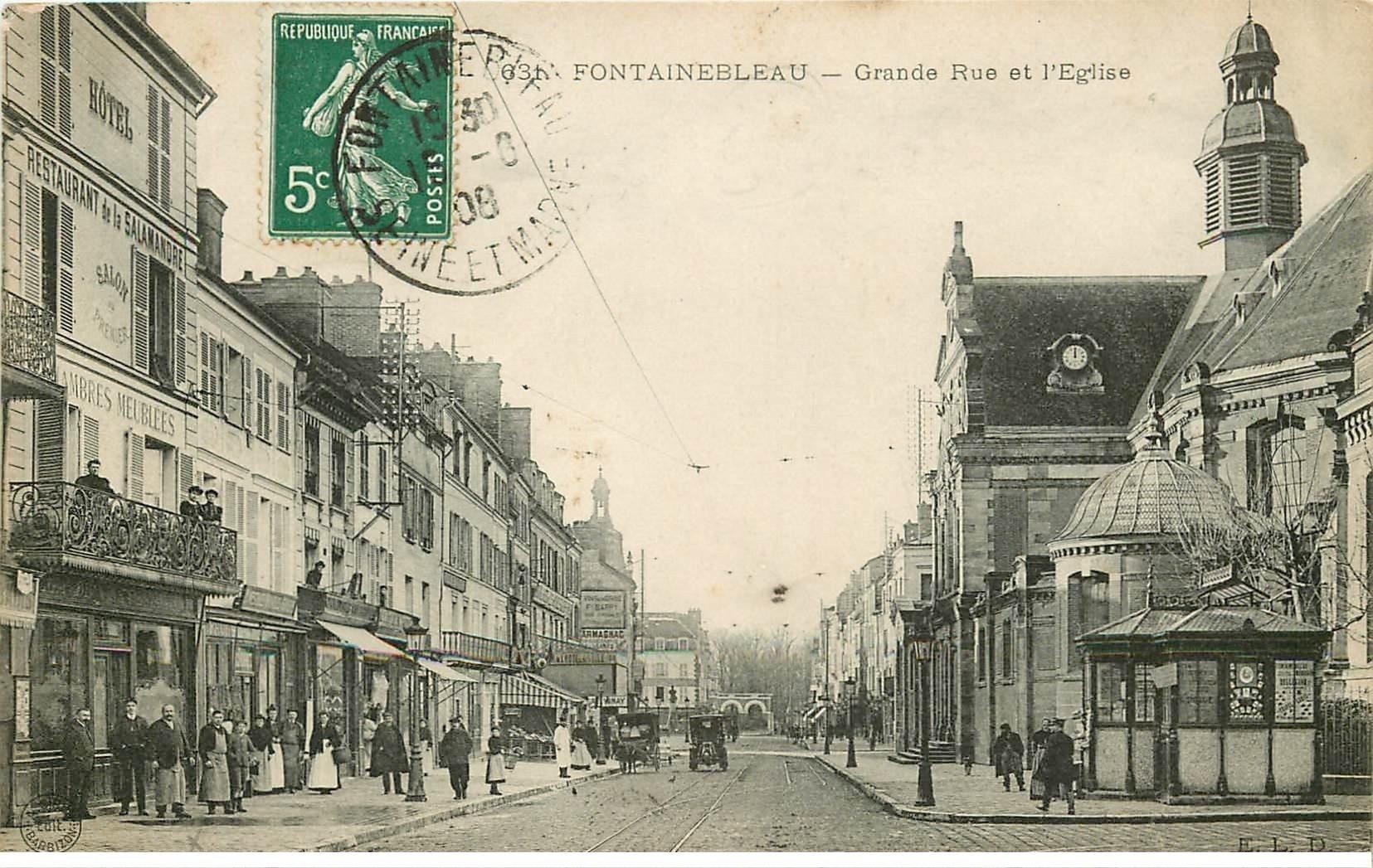77 Fontainebleau  Grande Rue Eglise 1908 H U00f4tel Salamandre
