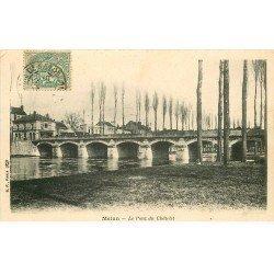 carte postale ancienne 77 MELUN. Pont ancien Châtelet 1907
