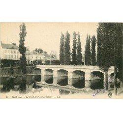 carte postale ancienne 77 MELUN. Pont ancien Châtet 1915