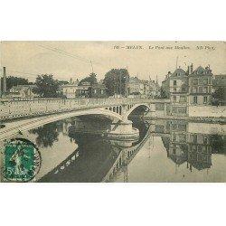 carte postale ancienne 77 MELUN. Pont aux Moulins 1912