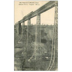 carte postale ancienne 03 PONT sur la BOUBLE. Train sur le Pont