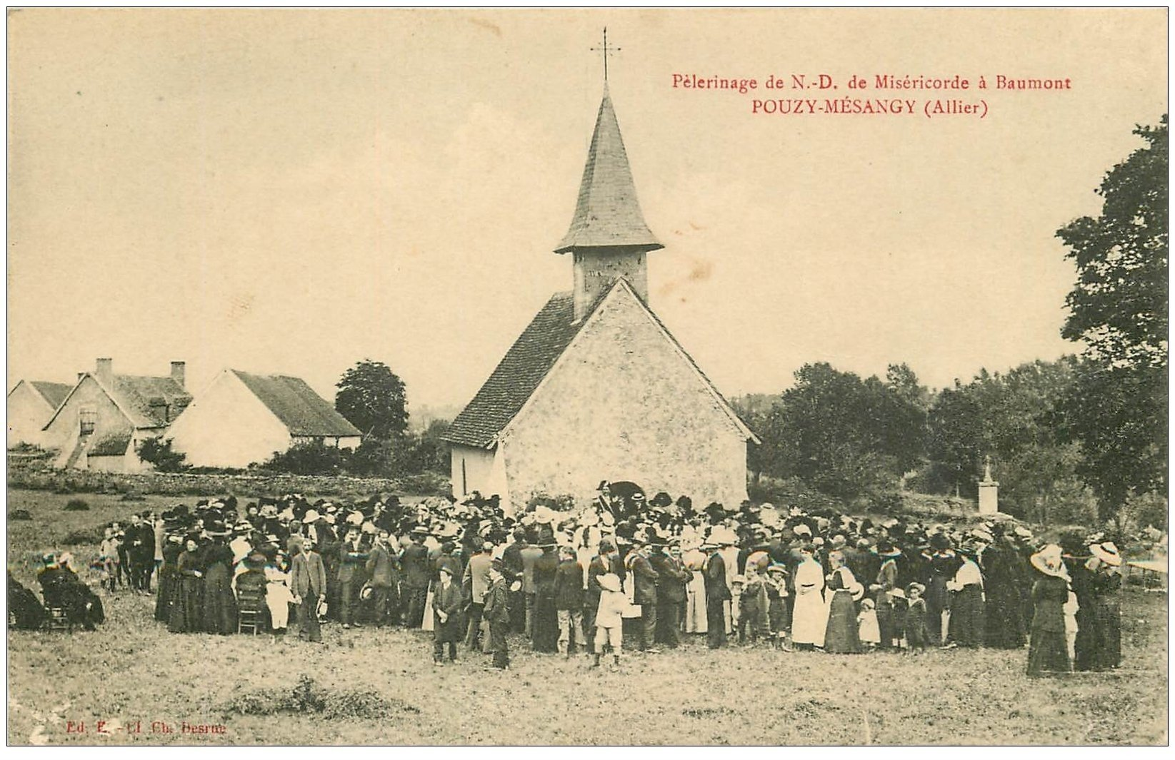 carte postale ancienne 03 POUZY-MESANGY. Pélerinage N.D de Miséricorde à Beaumont 1915