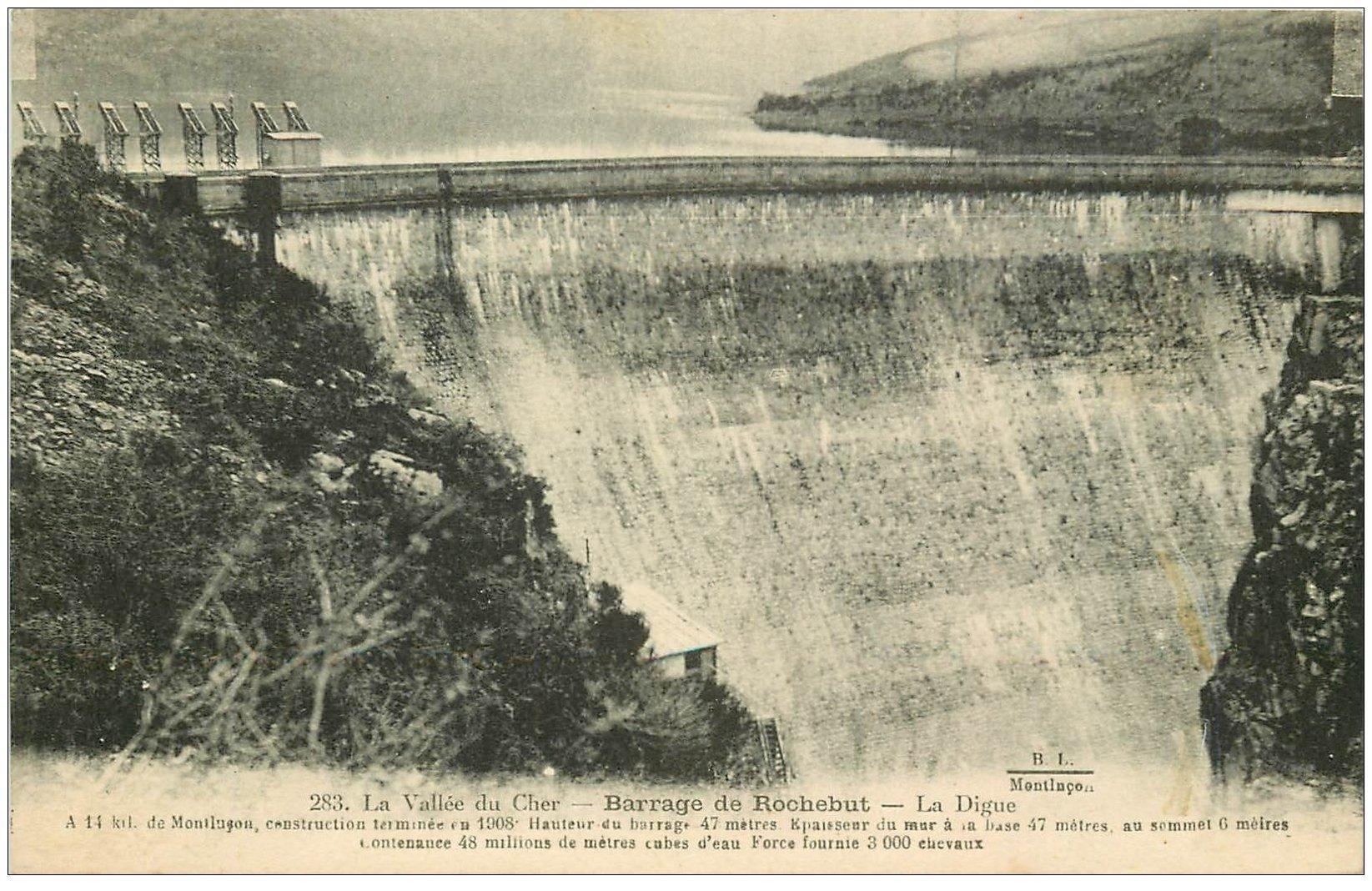 carte postale ancienne 03 ROCHEBUT. Barrage et Digue