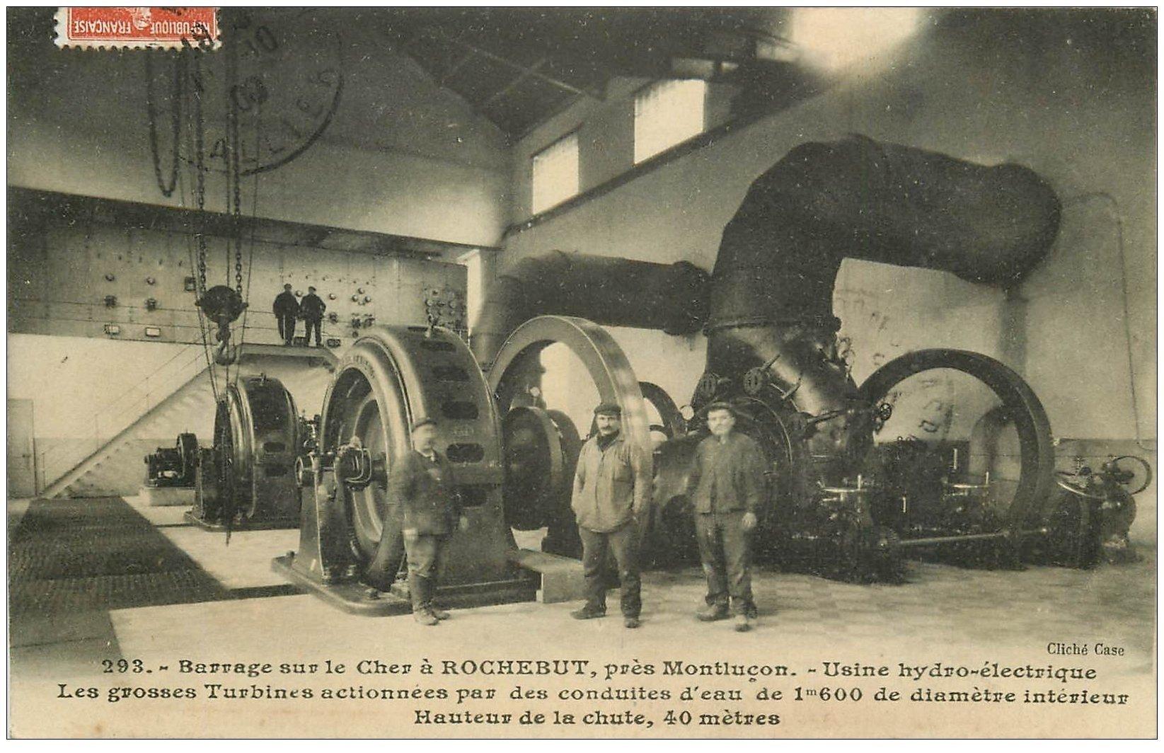carte postale ancienne 03 ROCHEBUT. Usine hydro-électrique au Barrage avec Turbines 1909