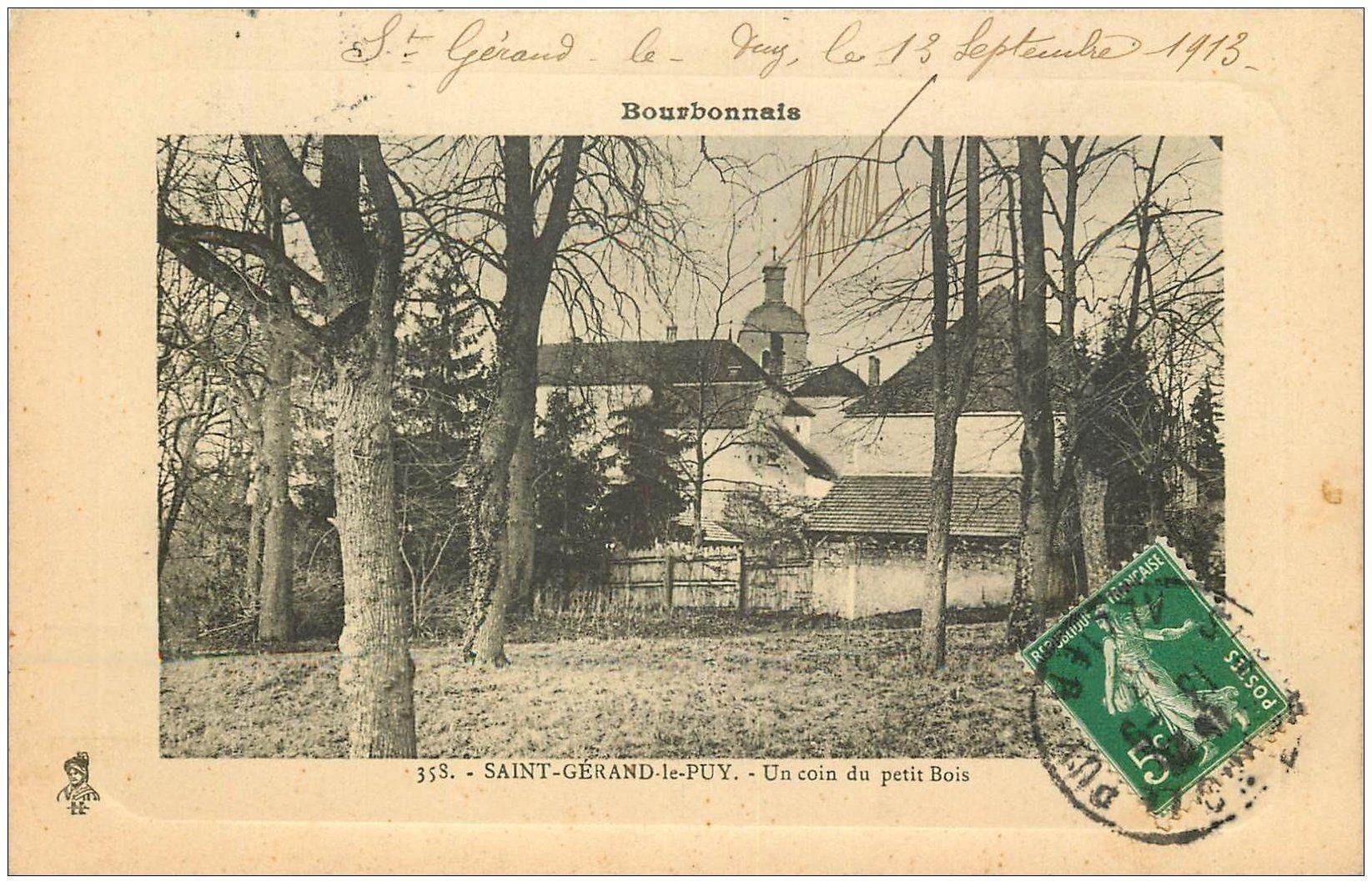 carte postale ancienne 03 SAINT-GERAND-LE-PUY. Un coin du Petit Bois 1913