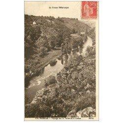 carte postale ancienne 23 ANZEME. Vallée de la creuse vers 1935 (fausse découpe)...