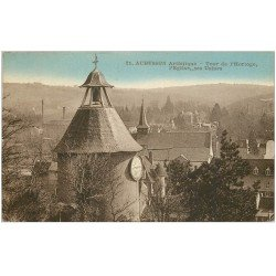 carte postale ancienne 23 AUBUSSON. Tour Horloge, Usines et Eglise 1932