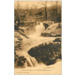 carte postale ancienne 23 BOURGANEUF. Cascade des Jarreaux 1934