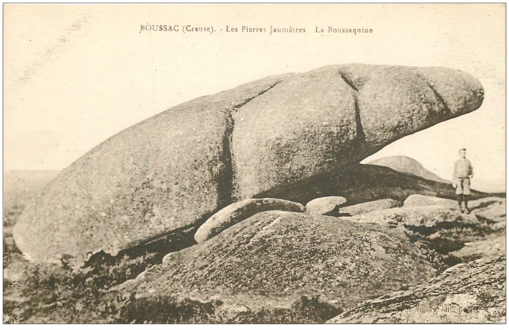 carte postale ancienne 23 BOUSSAC. Aux Pierres Jaumathres. La Boussaquine avec gamin