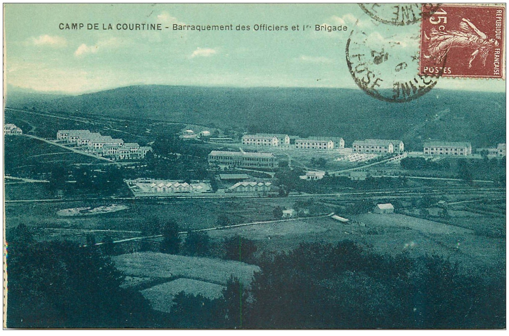 carte postale ancienne 23 CAMP DE LA COURTINE. Barraquement des Officiers Brigade 1925