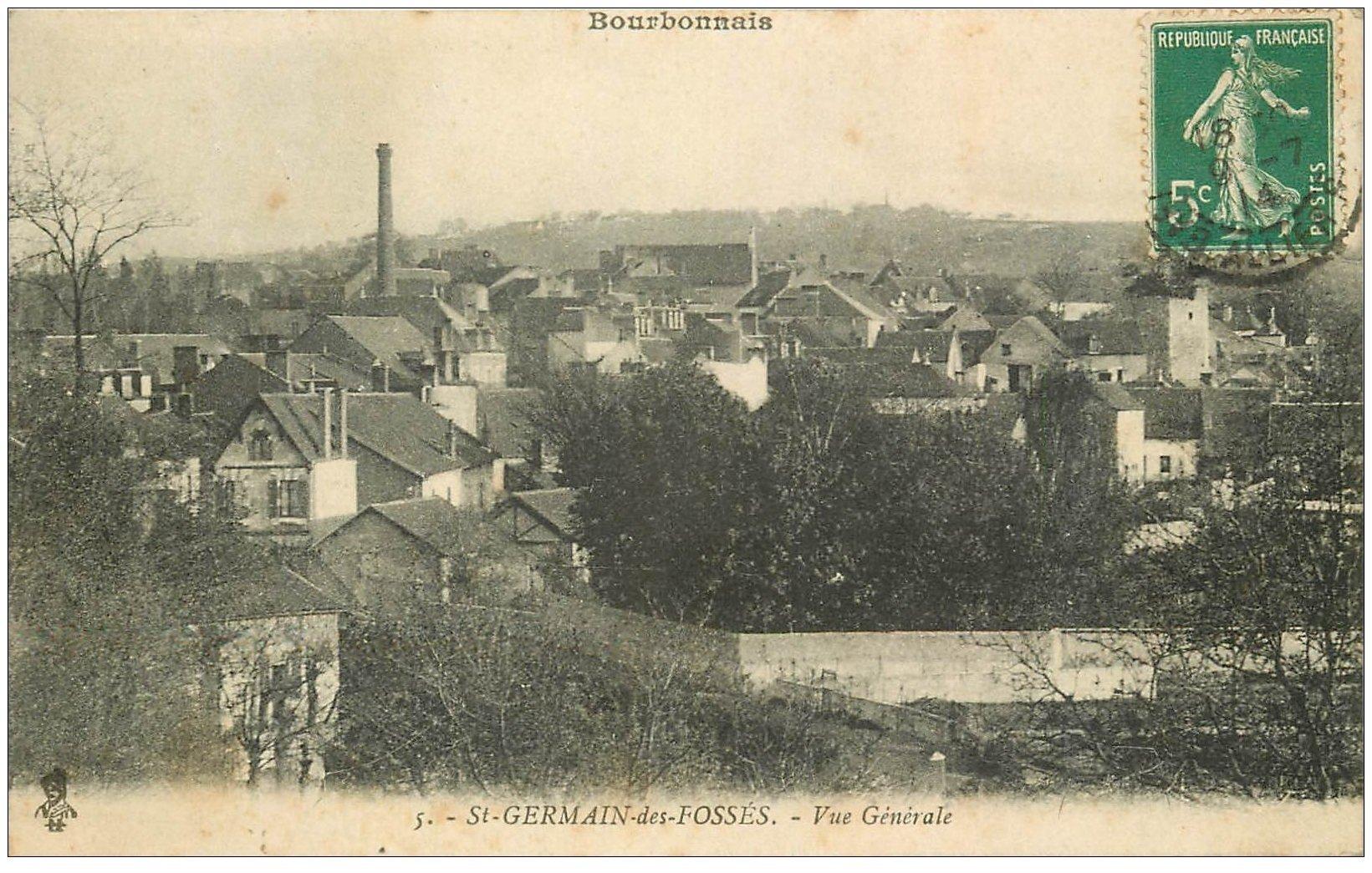 carte postale ancienne 03 SAINT-GERMAIN-DES-FOSSES. Vue générale 1914
