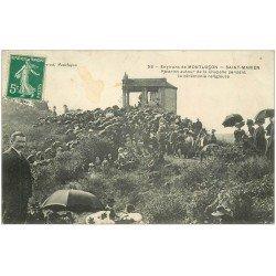 carte postale ancienne 03 SAINT-MARIEN. Pélerins autour de la Chapelle