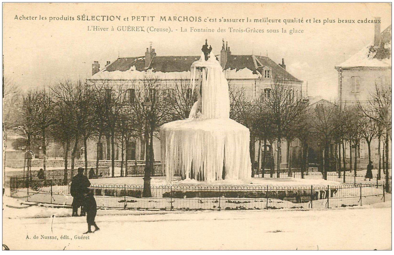 carte postale ancienne 23 GUERET. Fontaine des Trois Grâces. Carte réclame